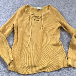 Old Navy mustard lace up sweater